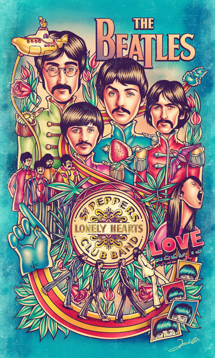 The Beatles #beatles #rock #the #illustration #roll #poster #and #music #psychadelic