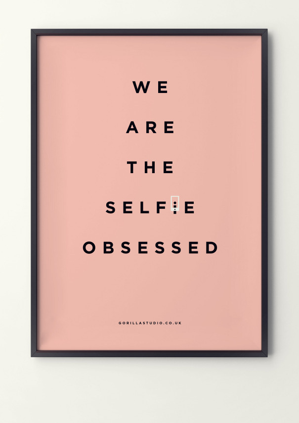 Are we generation 'selfie obsessed'? #poster design #illustration #gorilla #selfie #obsessed
