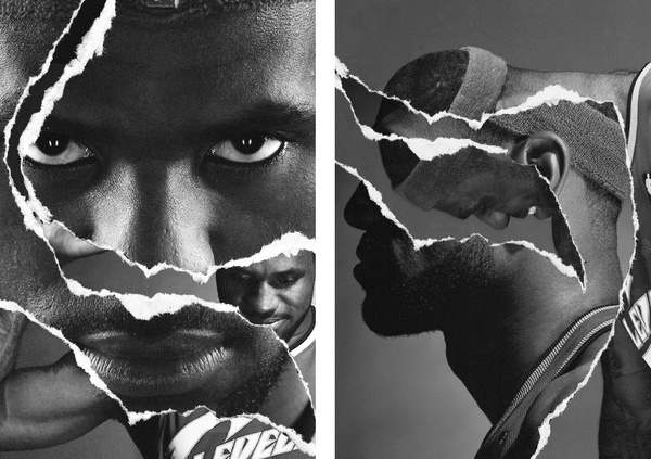 LeBron James, Nike Basketball, Collage, 2010 #white #tear #tim #& #black #photography #crop