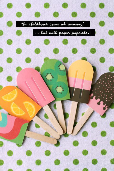 DIY Paper Popsicle Memory Game » Eat Drink Chic #print #game #paper #diy #ice cream #memory #poptick