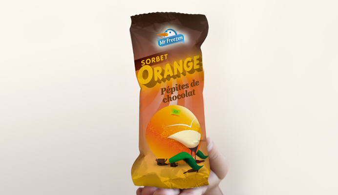 FRENCH SORBET PACK DESIGN. ORANGE-CHOCOLATE FLAVOUR#ICE#SORBET#PACKAGING