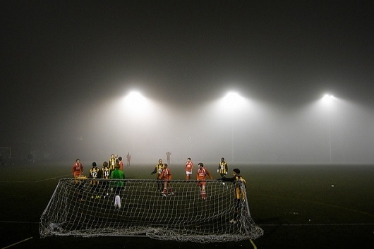 Your favorite photos and videos | Flickr #goal #fog #floodlights #grass #football