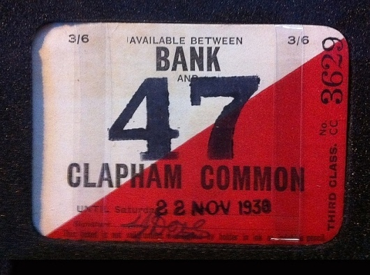 All sizes | Bank to Clapham common, bus ticket, London 1938 | Flickr - Photo Sharing! #train #stamp #1930 #london #class #third #ticket #numbers #diagonal #typography