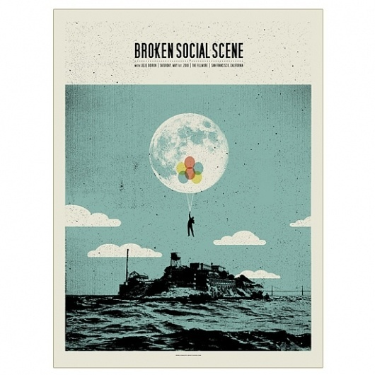 Band Job :: Music Art & Awesome Design :: Broken Social Scene _ The Fillmore San Francisco #brokensocialscene #silkscreen #job #poster #band