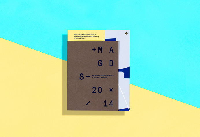 MAGD Show 2014 by Dario Gracceva & Sarah Krebietke Drawing on experience and insight, a designer or writer decides on the content and the or #cardboard #yellow #design #graphic #blue #typography