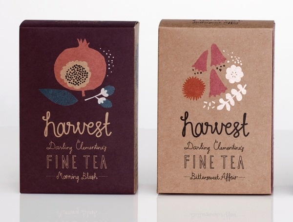 darling clementine harvest fine tea #lettering #packaging #drawn #tea #hand