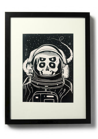 ASTRONAUT,-,Original,relief.,Hand,Printed,Linocut, Rocco Malatesta, Illustrator, Poster, Movie Poster, fine art print, archival ink, archiva