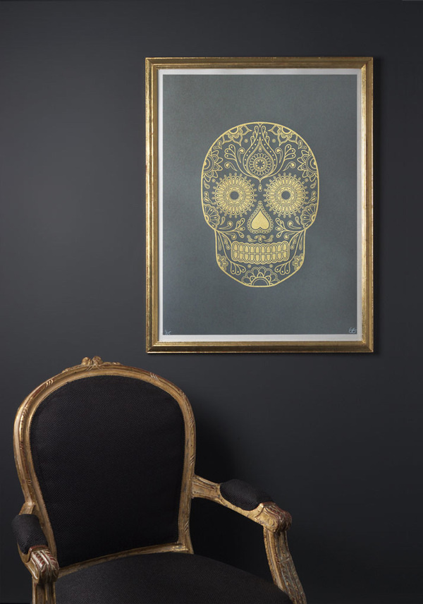Gold Day of the Dead Screen Print Release #silkscreen #ink #of #sugar #the #day #gold #dead #skull
