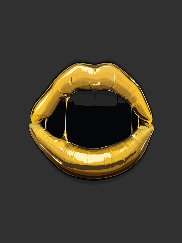 Goldie Gaks Designs #sexy #lips #design #illustration #gold #mouth