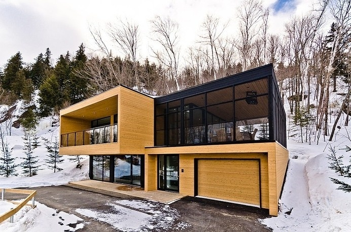 Cozy Haven Nested in the Laurentians, Canada: Via Sauvagia House #canada #mountain #architecture #nature