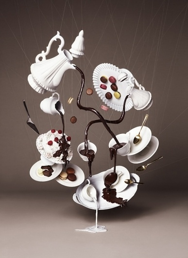 Colossal   An art and design blog. #gravity #white #food #photography #concept #magic #fashion #chocolat
