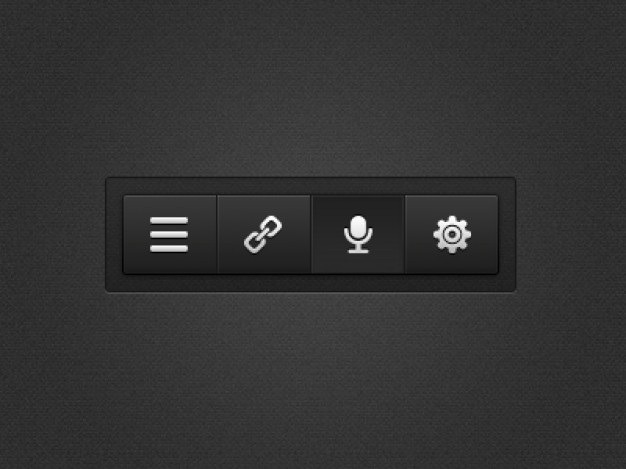 Black menu with settings buttons Free Psd. See more inspiration related to Menu, Button, Black, Buttons, Psd, Material, Up, Interface, Voice, Settings, Set, Push, Horizontal, Four, Push button, Set up and Psd material on Freepik.