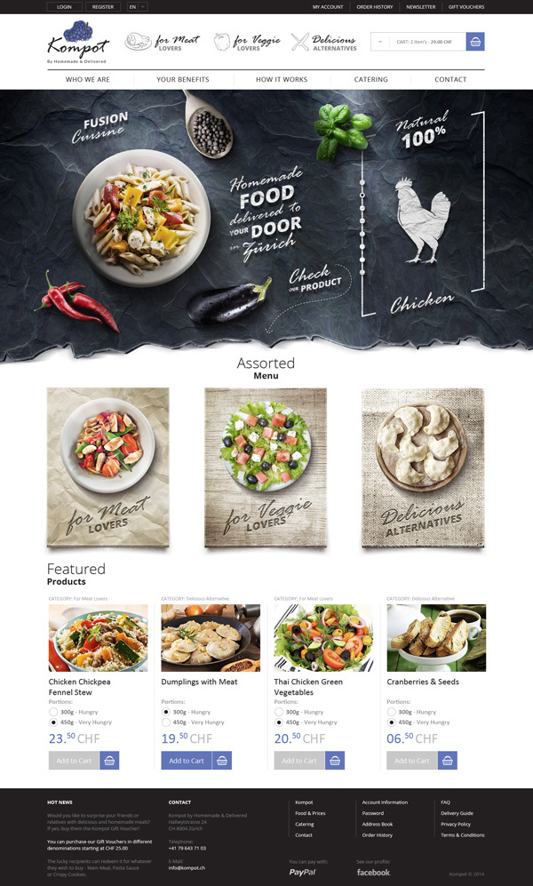 I like the use of texture and three dimentionality. Photography makes any web presence better, too. #ux #design #food #ui #web