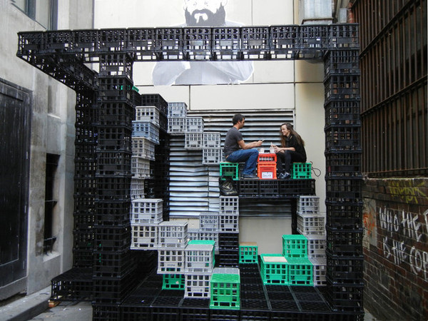 A Playground for Urban Dwellers/ Reuse of Milk Crates contemporary exterior #crate #space