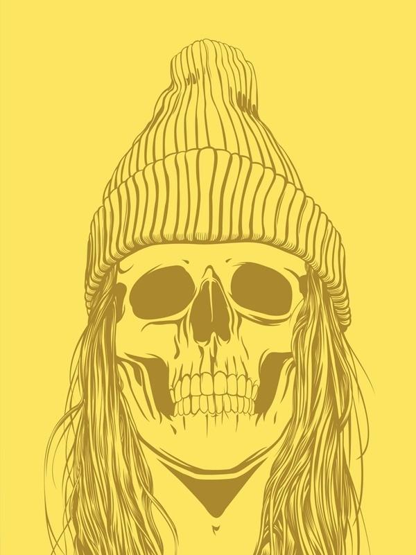 Skull Girls (pt.1) on the Behance Network #illustration #yellow #skull