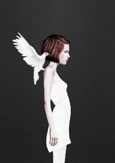 Ruben Ireland #girl #dove #bird #illustration #fly #angel #art #and #dark #wings #light
