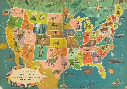 Our 50 States #states #50 #america #color #puzzle #map #illustration #usa #our