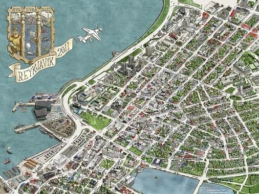 http://www.reykjavikcentermap.com #watercolors #illustrat #map #illustration #iceland #drawing