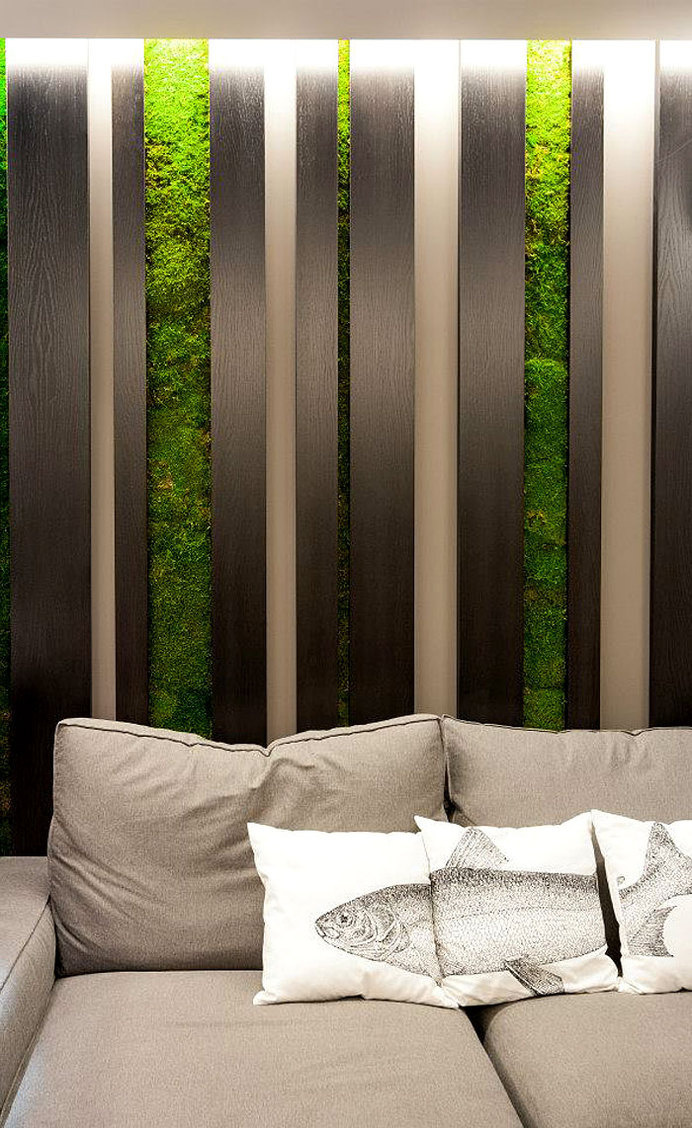 Fresh Design of Modern Urban Home by SVOYA Studio dark wood cladding green wall #decor #home #wall #walls #green