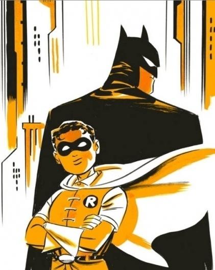 Darwyn Cooke Batman and Robin, in RonPittman's For Sale Comic Art Gallery Room #marker #gotham #robin #batman #illustration #darwyn #comics #cooke