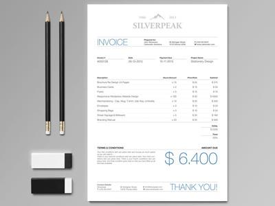 Silverpeak Invoice https://creativemarket.com/andre28/16641-Silverpeak-Stationery-Set-Invoice?u=andre28 #invoice #branding #silverpeak #stationery #template