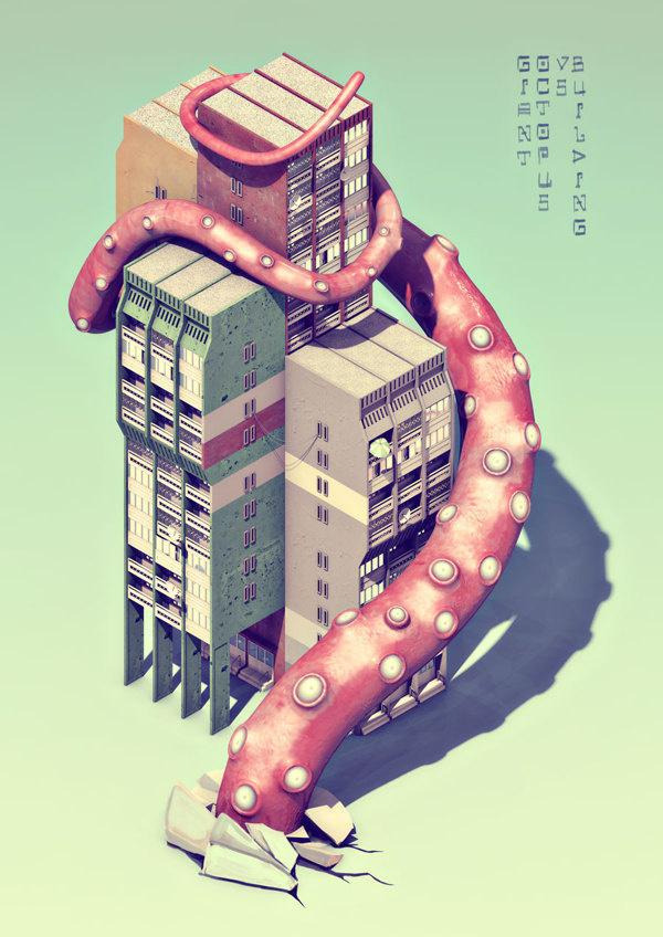 Giant Octopus vs. Building on Behance #isometric #texture