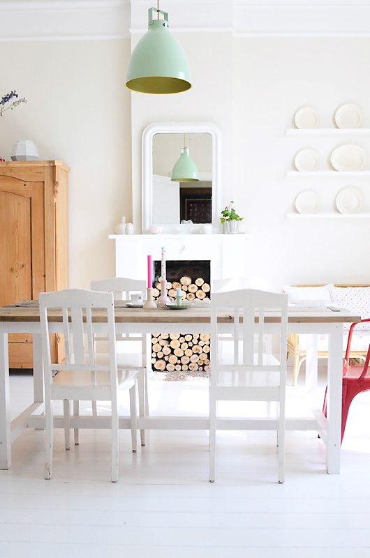 logs in fireplace #interior #design #decor #deco #decoration