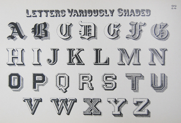 Letters Variously Shaded // Draughtman's Alphabets (1877) #type #lettering #treatment #typography