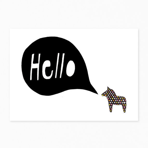 Hello Dala Postcard van seventytree op Etsy #illustration #etsy #hello