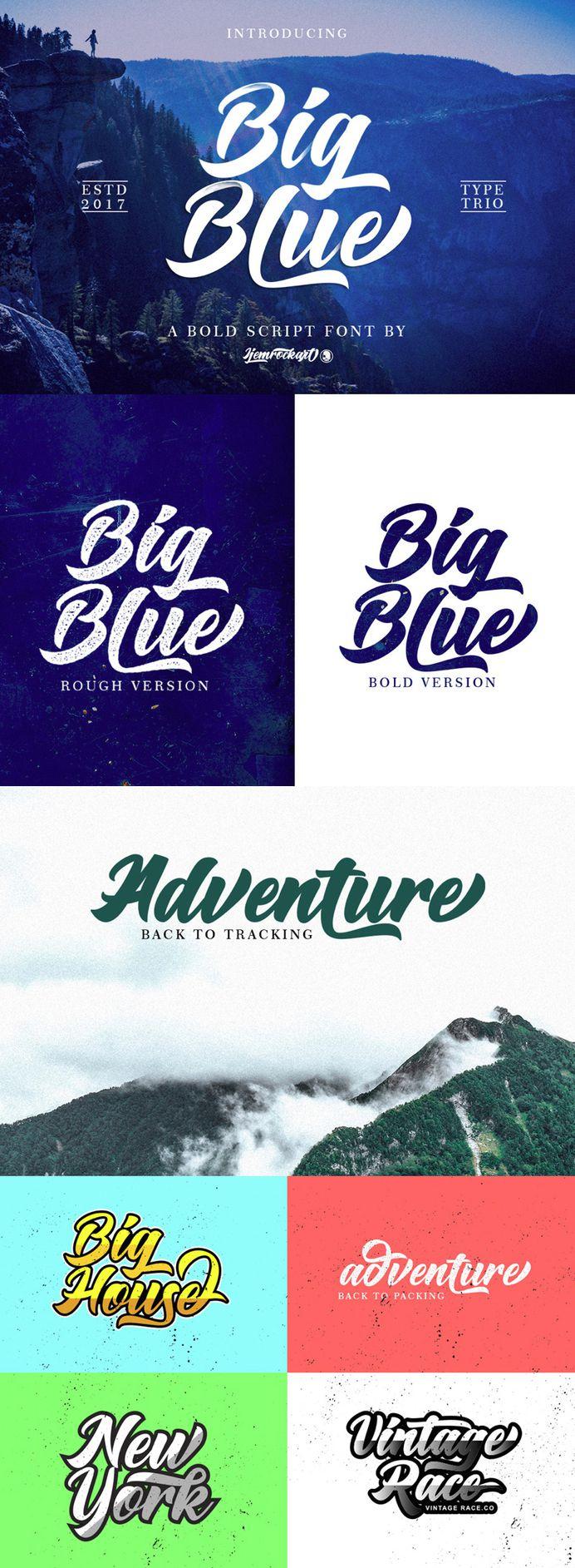 Big Blue Font - Bold Script Typeface