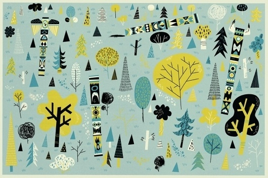 Totem Forest : Jared Chapman #chris #chapman #design #illustration #trees #green