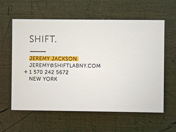 Shift Lab Card #card #letterpress #minimal #business