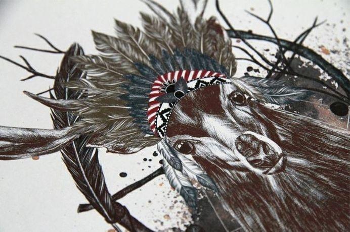 www.larabispinck.com #deer #headgear #feathers #indian #illustration #dreamcatcher #realistic #aztec #watercolor #animal