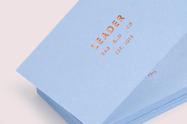 Leader Bag Co on Behance #print #business card #blue #foil