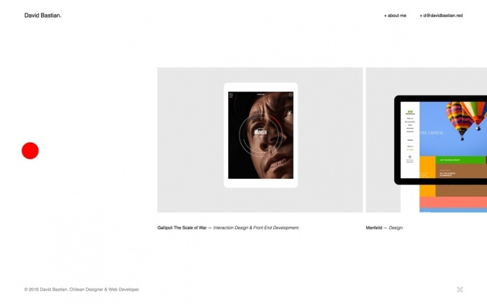 Designer portfolio webdesign inspiration award site of the day minimal davidbastien.red David Bastien designblog inspire www.mindsparklemag.