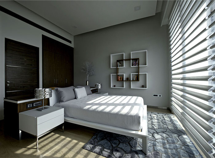 Sophisticated Indian Apartment with Woven Staircase architectural elements such blinds #bedroom #bedroom design #interior #interior design