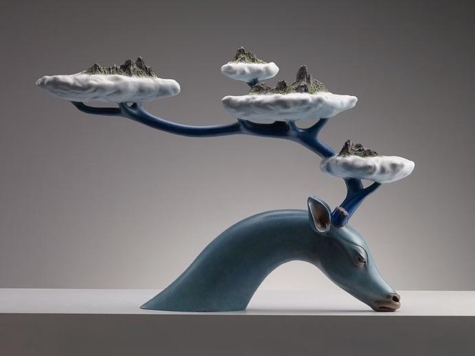 Twibfy #islands #antler #clouds #deer #sculpture #myth #art #creation #blue #ceramic #beauty