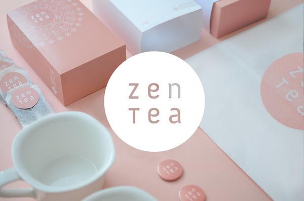 Zen Tea #logotype #circle #stationary #packaging #pink #natural #tea #logo