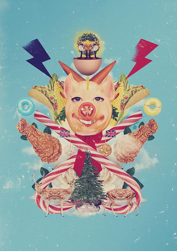 Christmas card 2014 on Behance #design #graphic #food #christmas #collage
