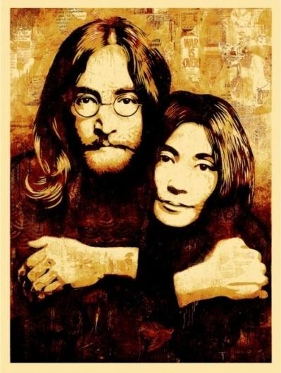 John & Yoko Canvas Print - OBEY GIANT #music #illustration #urban