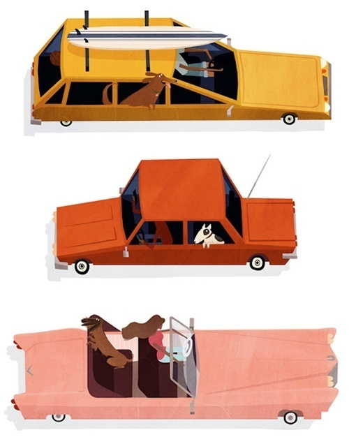 Emmanuelle Walker's Dogs #dogs #illustration #cars #retro