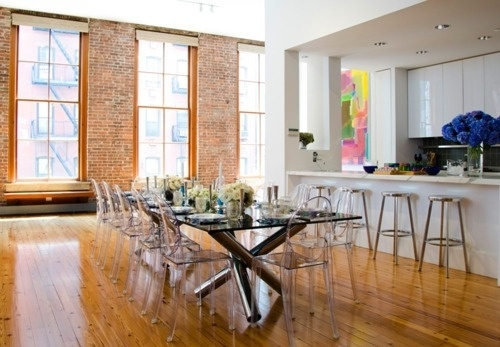 tumblr_ltflki9t3v1qzy2hno1_500.jpg 500×347 pixels #interior #brick #dining #design #wood #light