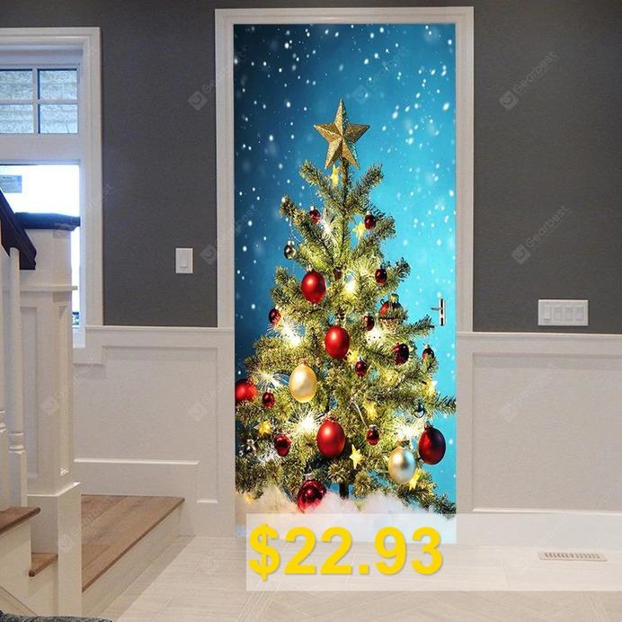 Christmas #Tree #Balls #Pattern #Door #Art #Stickers #- #COLORMIX