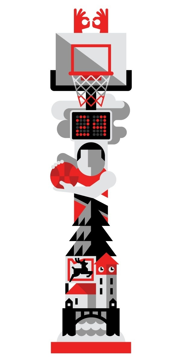 House of Hoops PDX Always With Honor #geometric #illustration #minimal #sport #character