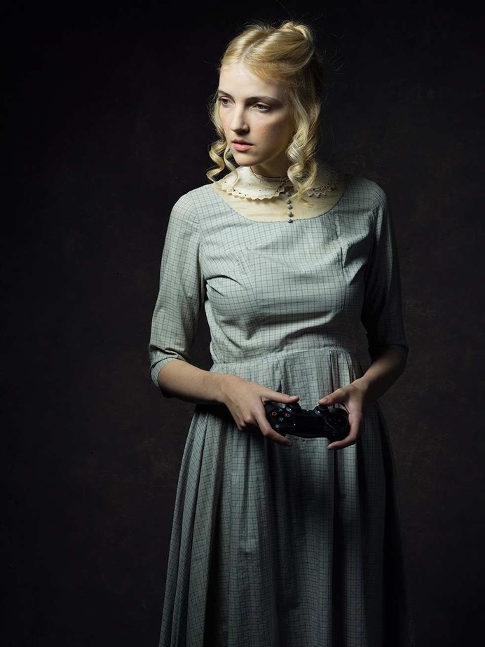 Portraits of 19th Century Characters Posing With 21st Century Technology