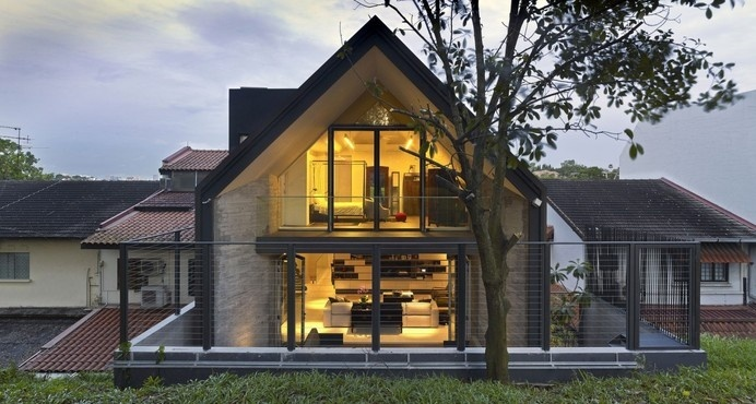 Elegant Interior With Industrial Elements: Y House in Singapore by ONG&ONG #architecture