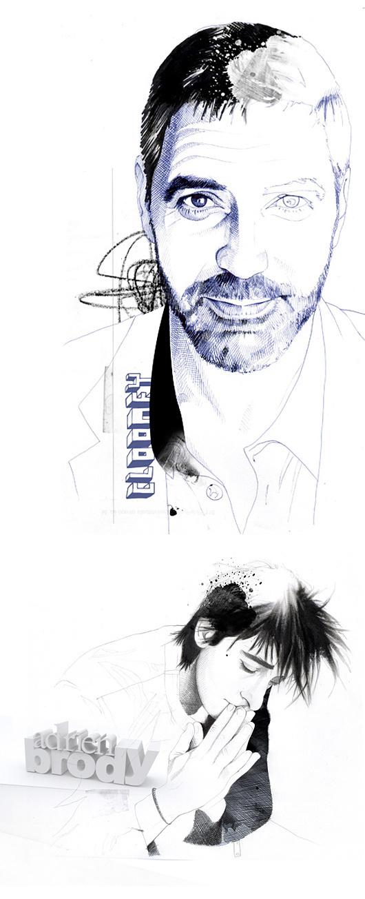 Illustrations by David Despau #watercolors #george #brody #illustration #pen #art #fashion #adrien #clooney