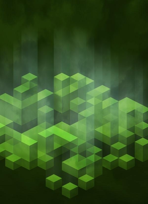 Kryptonite #vector #cubes #illustration #element #green