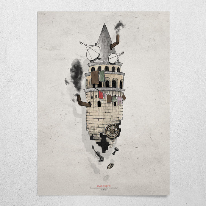 #galata - ghetto #beige #poster #wallart #galata #tower #istanbul #ghetto #aerial #chimney #wheel