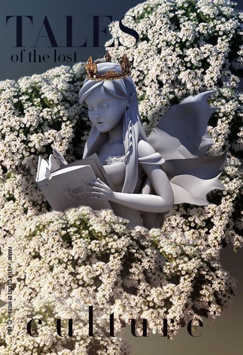 TALES of the lost C.U.L.T.U.R.E. â™› #design #statue #angel #poster #art #layout #3d #flowers #grey